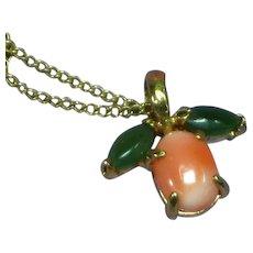 Krementz Jade and Coral Necklace
