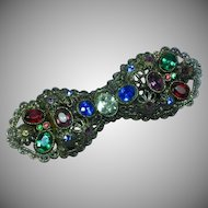 Czech Deco Color Rhinestones Brooch Pin