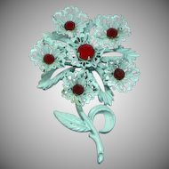 Gorgeous Flower  Japanned White Red Rhinestones Pin Brooch