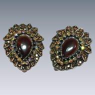 Stunning Copper Hawks Eye Rhinestone Clip Earrings