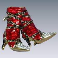 Enamel Red High Heel Rhinestones Boots Pin Brooch