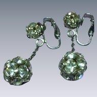 Rhinestones Long Dangle Ball Clip Silver Tone Earrings