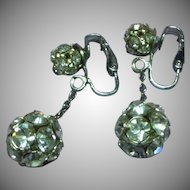 Rhinestones Long Dangle Ball Clip Silver Tone Earrings