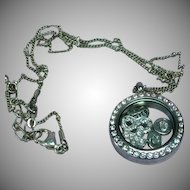 Crystal Shaker Locket Rhinestones Keepsake Pendant Necklace