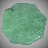 Chinese Green Jadite Jade Carved Ying Yang Pendant