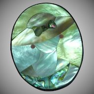 Large Lady Hat Figural Lucite Pink Mother of Pearl Inlay Pin Brooch