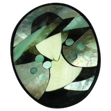 Large Lady Hat Figural Black Lucite Mother of Pearl Mosaic Inlay Pin Brooch