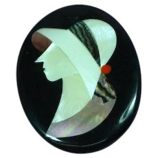 Lady Hat Figural Black Plastic Pink Mother of Pearl Inlay Abalone Pin Brooch