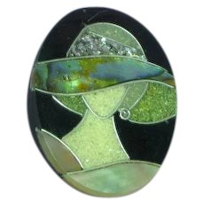 Lady Hat Figural Black Plastic Pink Mother of Pearl Abalone Glitter Inlay Pin Brooch