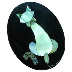 Inlay Iridescent Mother of Pearl Abalone on Black Plastic Cat Figural Pin Brooch