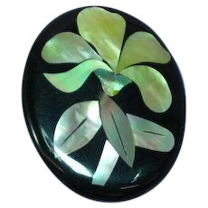 Inlay Iridescent Mother of Pearl Abalone Flower Floral Figural Laminated Lucite Pin Brooch