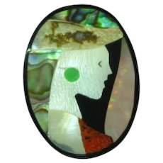 Black Plastic Inlay Iridescent Mother of Pearl Abalone Coral Lady in Hat Figural Pin Brooch