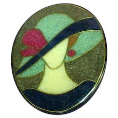Lady Hat Figural Black Plastic Colorful Composite Material Inlay Pin Brooch