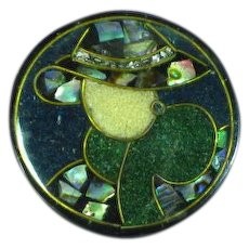 Lady Hat Figural Black Plastic Round  Abalone Glitter Inlay Pin Brooch