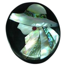 Lady Hat Figural Black Plastic Pink Mother of Pearl Abalone Inlay Pin Brooch