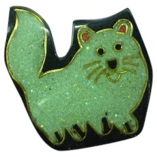 Inlay Composite Material Kitty Cat Figural Lucite Pin Brooch