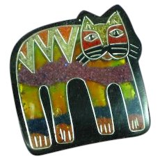 Inlay Composite Material Foil Kitty Cat  Lucite Figural Pin Brooch