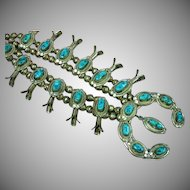 Native American Indian Marked Turquoise Squash Blossom Sterling Silver Bench Bead Necklace