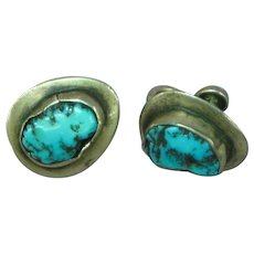 Native American Indian Sterling Silver Turquoise Hand Made Screw Back Earrings