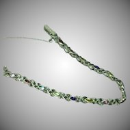 Sterling Silver Multi Gemstones and Marcasite Link Line Tennis Bracelet