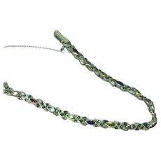 Sterling Silver Multi Gemstones and Marcasite Link Line Tennis Bracelet