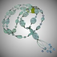 Incredible Carved Genuine Gemstone Aquamarine Beads Sterling Silver Designer Signed Necklace