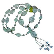 Incredible Carved Genuine Gemstone Aquamarine Beads Sterling Silver Designer Signed Necklace