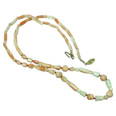 Angel Skin Coral Hand Carved Beads 14K Yellow Gold Clasp Necklace