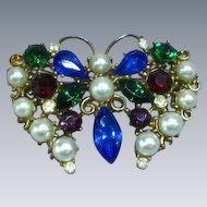 Exceptional  Royal Colors Rhinestones  Faux Pearl Butterfly Pin Brooch