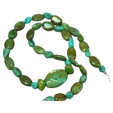 Natural Turquoise  Nuggets Sterling Silver Beaded Strand Hand Crafted Necklace