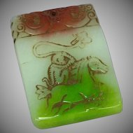 Jade Carved Tri-Color Pendant Plaque Necklace Plaque
