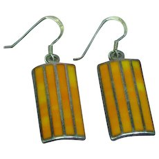 Native American Indian Signed Inlaid Orange Spiny Oyster Sterling Pierced Earrings