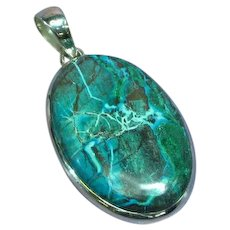 Eilat Chrysocolla Large Sterling Silver Necklace Pendant