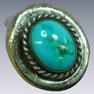 Native American Indian Sterling Silver Turquoise Vintage East West Ring