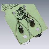 Native American Indian Apache Tear Obsidian Stone Drop Dangle Pierced Earrings