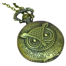 Brass  Wise Owl Pocket Watch Necklace