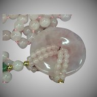 Pink Rose Quartz Beaded Hand Knotted Carved Jade & Disc Pendant Necklace