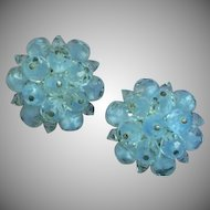 Laguna Signed Austrian Crystal Clip Powder Blue Button Earrings