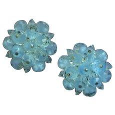 Laguna Signed Austrian Crystal Clip Powder Blue Button Earrings