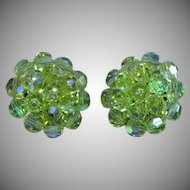 Lovely Yellow Austrian Crystal A/B Button Clip Earrings