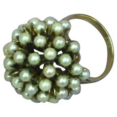 14K Yellow Gold Seed Pearl Dome Pearl Cluster Vintage Cocktail Dinner Ring