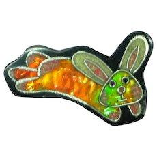 Black Plastic Inlay Composite Material Foil Figural Bunny Rabbit Pin Brooch