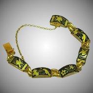 Vintage Japanese Amita Shakudo Damascene Link Bracelet