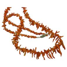 Vintage Salmon Branch Red Coral Necklace