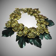 Huge! Goldtone Flowers and Carved Green Jade Leaves Runway 1970s Statement Necklace