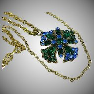 Elaborate Victorian Revival Long Double Chain Rhinestone Pendant Necklace