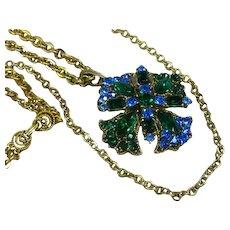 Elaborate Victorian Revival Long Double Chain Rhinestone Pendant Necklace