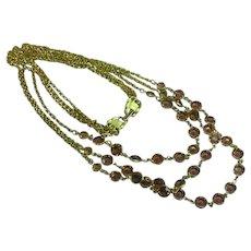 Swarovski Triple Strand Bezel Set Citrine Crystal Vintage Long Necklace