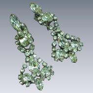 Icy Clear Mix Shape Rhinestones Long Dangle Rhodium Plate Clip Earrings