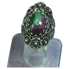 Anyolite Stone Sterling Silver Hand Crafted Filigree Ring